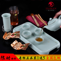 正品汝窑茶具套组旅行茶具陶瓷玻璃普洱红茶泡茶器功夫茶杯茶具