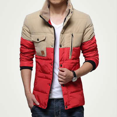 St. grams Fox thick winter jacket men Men Slim thin stitching short paragraph Korean men down coat jacket