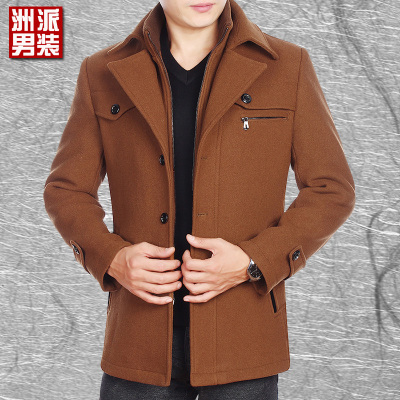 Men's Jackets Men's woolen jacket Slim wool coat lapel casual middle-aged big yards thick winter clothes