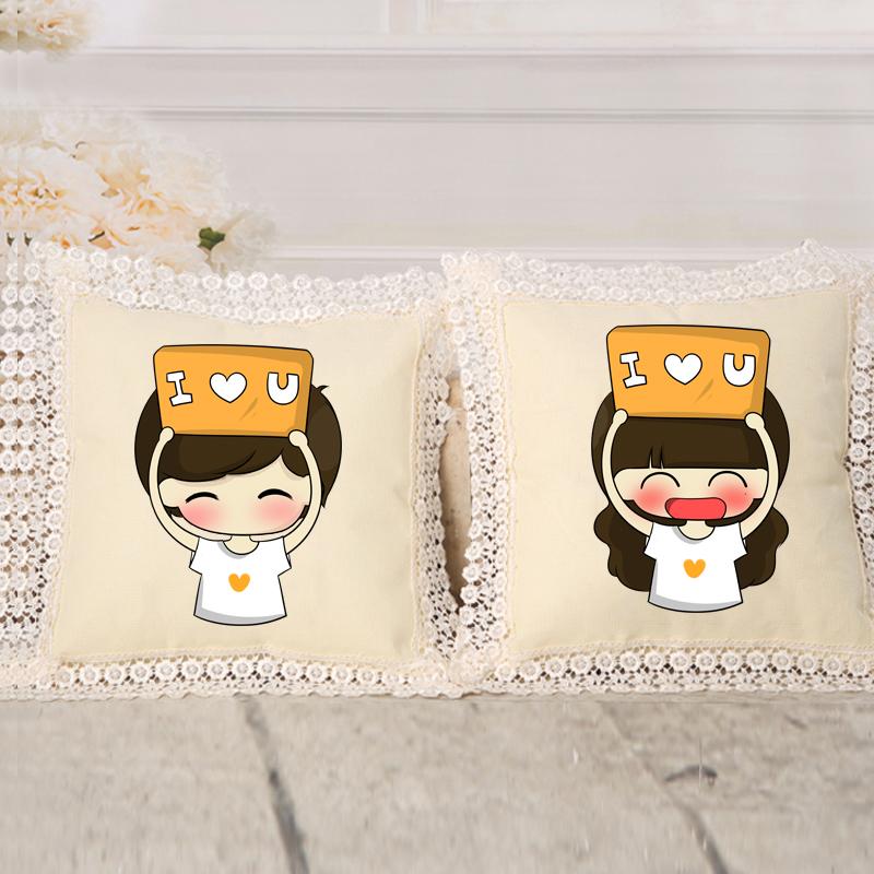 最新款精准印花十字绣抱枕创意卡通可爱情侣萌小希与阿树靠枕包邮