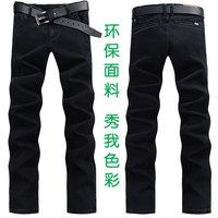 新款男装黑色牛仔裤修身 男士直筒韩版休闲长裤潮男裤子弹力包邮