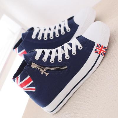 2014 Fall New England style high-top canvas shoes women shoes, casual shoes student shoes solid color zipper Flats