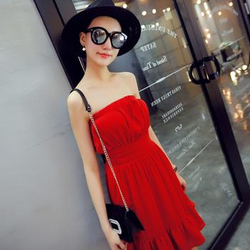 2015夏惊艳红色纱裙收腰一字领抹胸结婚礼服款连衣裙图片