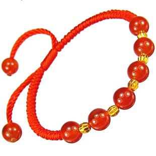 贝罗绮 正品黄金转运珠手链 足金本命年红绳路路通红玛瑙女款手串