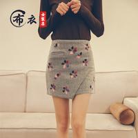 2016韩版新款裙子冬季短款印花拼接毛呢半身短裙包臀裙休闲一步裙