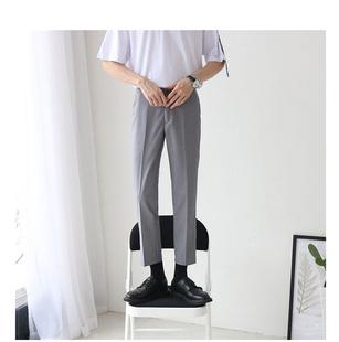 Male shop秋冬纯黑显瘦九分裤英伦西装小直筒小脚裤