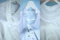 古着VINTAGE日本制复古简约刺绣花白色清新文艺波点长袖雪纺衬衫