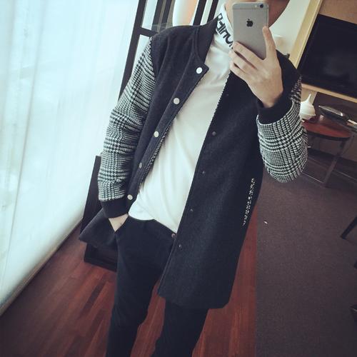 威廉的华丽 原创秋冬新款 韩版修身男式拼接千鸟格设计呢料大衣潮