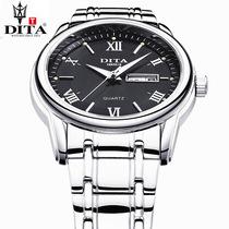 迪塔正品手表 商务时尚潮流腕防水石英男表男士学生 真皮带精钢带