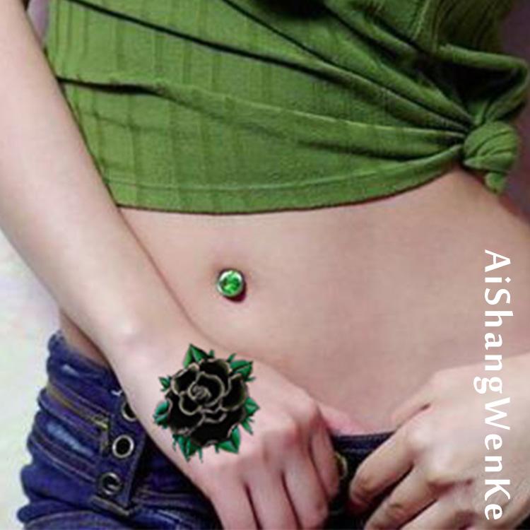 厂家直销绿玫瑰纹身贴 防水女 手背 性感刺青仿真纹身