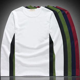 男士长袖T恤纯棉打底衫空白纯色圆领上秋衣服纯白潮秋装