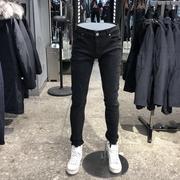 莫迪洛JJ品牌男装2018黑色莱卡纯棉春季款长裤防尘小脚牛仔裤