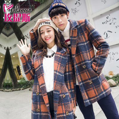 Lovers fall and winter clothes new wool coat woolen coat leisure Korean couple Atlantis rose lovers tide loading