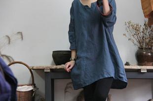 文艺复古棉麻衬衫女中长款亚麻上衣中式女装长袖宽松长衫显瘦原创