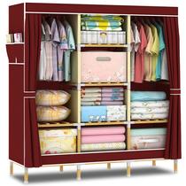 布艺简易衣柜衣橱组装实木单人款衣柜大号双人经济型木质加固折叠