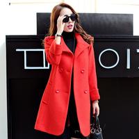2015冬季新款大衣双排扣子修身韩版V领长袖通勤毛呢风衣