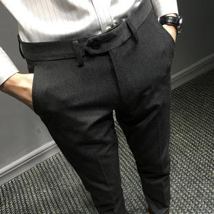 秋冬季西裤男小脚加绒加厚长裤子青年男士九分裤潮流