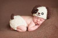 儿童摄影服装新款 手工编织造型 满月百天宝宝拍照衣服影楼咖啡狗