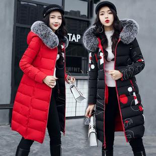 大码加厚两面穿羽绒棉服女士中长款棉衣时尚棉袄外套2018冬季