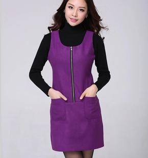 2014秋冬款毛呢连衣裙前置拉链显瘦大码打底裙无袖紫色背心裙