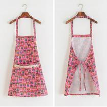 包邮韩版时尚家居炒菜围裙可爱卡通猫头鹰挂脖系带大口袋厨房罩衣