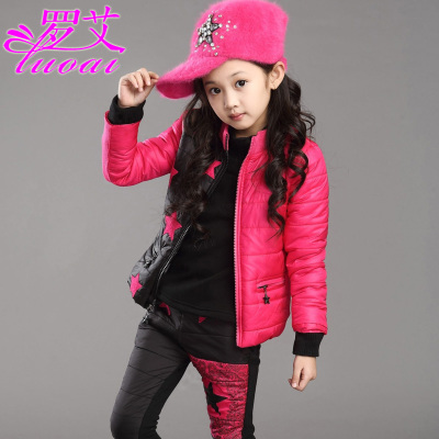2014 new children's clothing for girls winter suits Korean high-large three-piece children's sweater thick sportswear tide