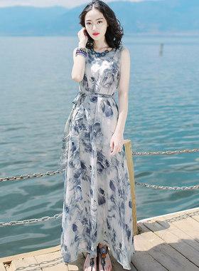 2016夏季新品女装修身无袖雪纺连衣裙波西米亚长裙海边度假沙滩裙
