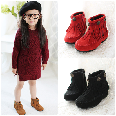 Winter new children's Korean girls fringed boots big boy low tube boots plus velvet warm boots princess cotton boots
