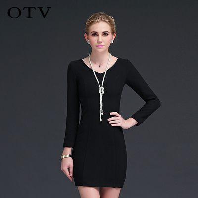 OTV US fall and winter package hip skirt new elegant temperament Slim thin woolen winter wool dress bottoming female
