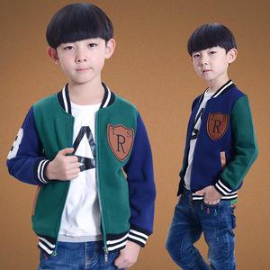 韩版童外套加绒儿童开衫男童棒球衫加厚款中大童抓绒棒球服夹克衫