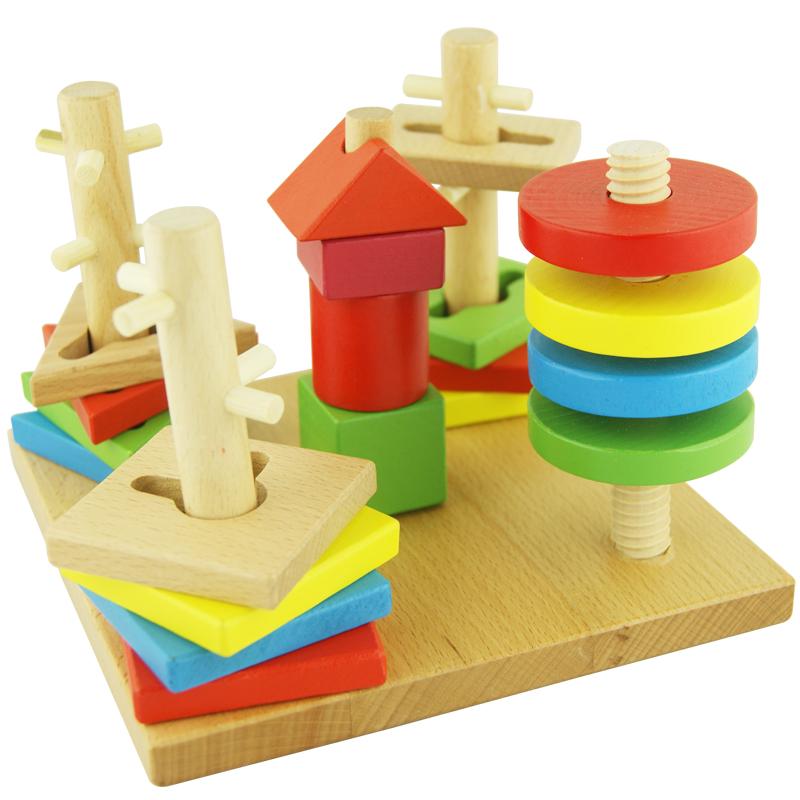 Детские игрушки деревянные развивающие детские игрушки геометрии съемные де