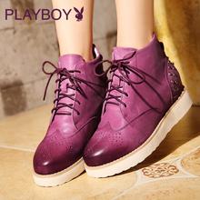 花花公子女鞋秋冬季新款马丁靴女英伦风复古短靴真皮潮流坡跟女靴图片
