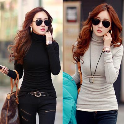 2014 Korean version of the new winter coat large size women long-sleeved t-shirt women's winter high collar and long sections bottoming shirt tide