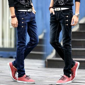 四季青少年男士牛仔裤男春秋款直筒弹力修身款青年小脚裤长裤子男