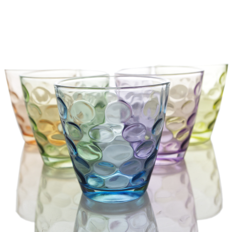 乐唯诗创意家用玻璃彩色水杯啤酒杯 果汁杯 耐热茶杯加厚礼盒套装图片