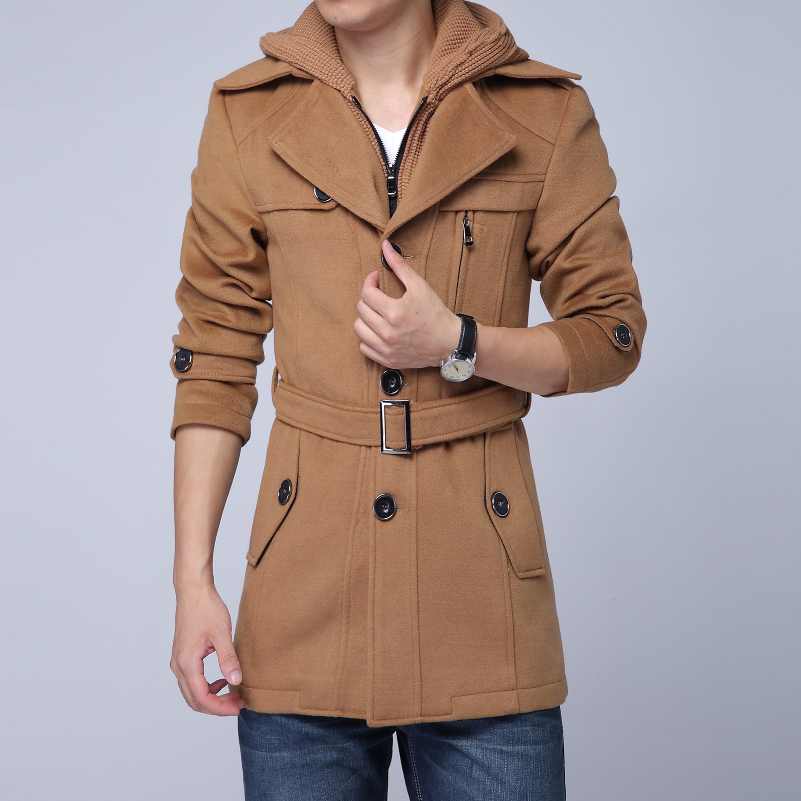 正品森马秋冬新款男装呢大衣男中长款假两件羊毛大衣修身毛呢外套