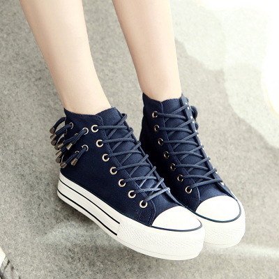 Autumn 2014 new high-top canvas shoes female Korean Su lace trend bottomed muffin bottom casual student shoes
