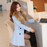 2015韩版毛呢外套女秋冬中长款长袖修身显瘦双排扣带毛领妮子大衣