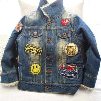 It within Fulai Kids 2014 Winter Boys labeling plus thick velvet denim jacket sherpa girls in jeans