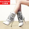 白色女高跟鞋潮流女靴秋冬中筒靴靴皮带扣修面皮侧靴子女鞋