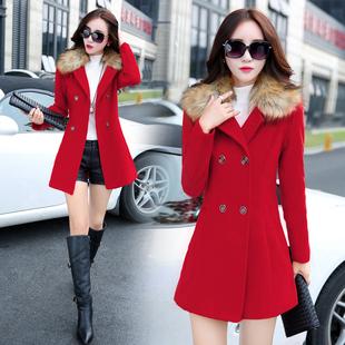 2015秋冬新款女装毛呢外套韩版修身中长款大毛领加绒加厚呢子大衣