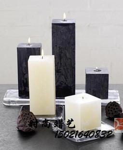 黑白长方形工艺蜡烛/样板房装饰蜡烛/香薰蜡烛/无烟蜡烛|创意浪漫