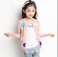 Girls knit cardigan sweater the spring and autumn period and the model of female in big boy baby 10 top the 3-7-14 - year - old clothes coat