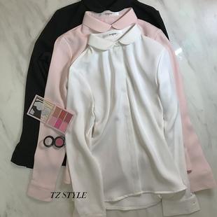复古精致小圆领白衬衫女长袖厚雪纺衬衣粉色OL不透翻领娃娃领