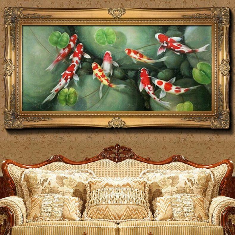 九鱼图荷花孔雀风水纯手绘欧式竖画中式客厅装饰壁画