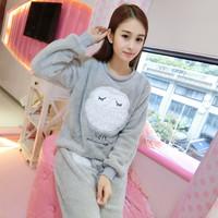冬季韩版加厚珊瑚绒睡衣女长袖春秋情侣卡通羊羔法兰绒家居服套装