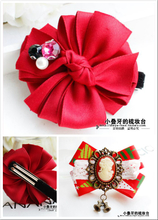 South Korea kiki exclusive new children's hair accessories Christmas New Year red vintage set auger import hairpin beautiful head
