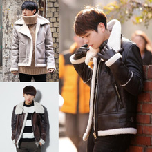 The new winter 2014 Heirs star Kim woo bin with warm lambswool men leather coat