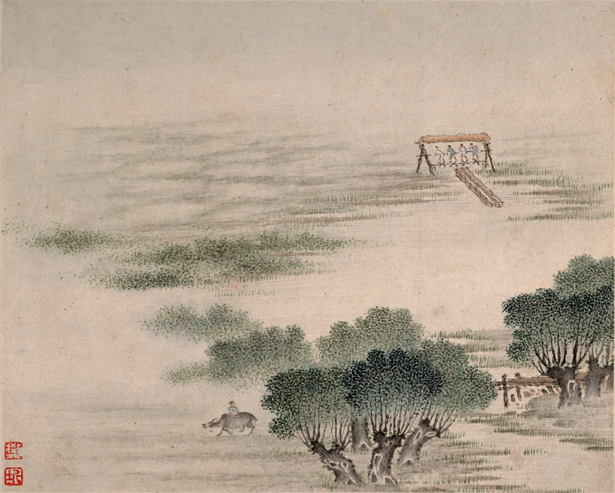 明清 樊圻 山水图 册页16开 仿古画 名家字画 国画 一图片
