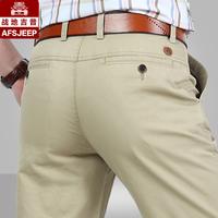 AFS JEEP春秋男裤商务男士直筒休闲裤男吉普军裤纯棉宽松薄款长裤